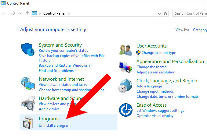 win10-control-panel Trovi Search Virus Removal