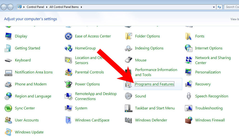 win7-control-panel كيفية إزالة Topstream.space