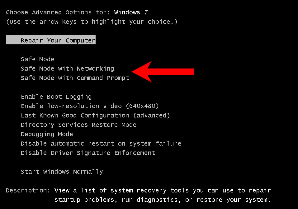 win7-safe-mode Ferosas file virus removal