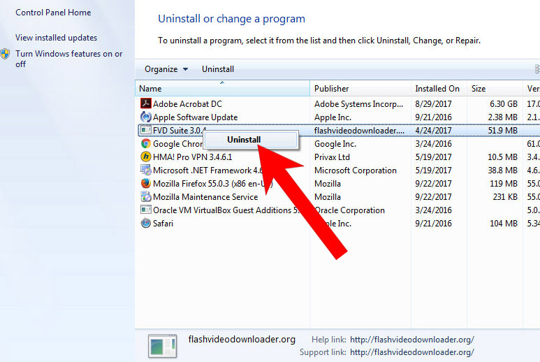 win7-uninstall-program How to remove Novideo.me