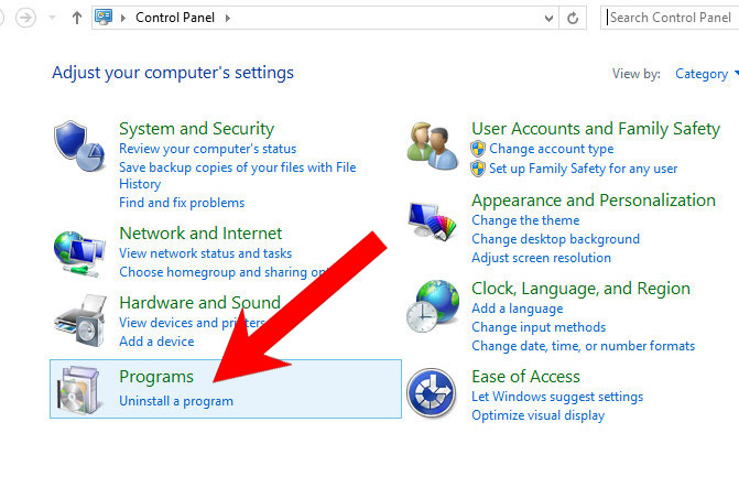 win8-control-panel Jak odstranit SearchLibrary adware