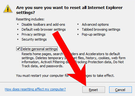 IE-reset Millagesert.info pop-up ads poisto