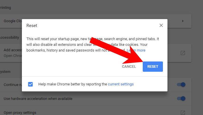 chrome-reset كيفية إزالة EngageSearch