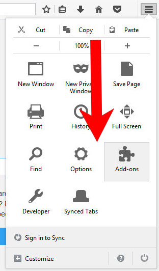 mozilla-menu Clicktms.biz pop-up ads - How to remove