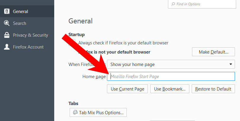 mozilla-options How to remove Radio Hub Online browser hijacker