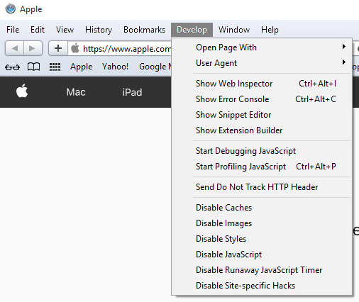 safari-develop-menu How to remove Radio Hub Online browser hijacker