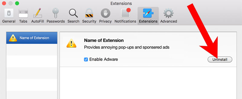safari-extensions Millagesert.info pop-up ads poisto
